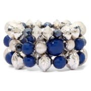 Mixit™ 3-pc. Silver-Tone Navy Stretch Bracelet