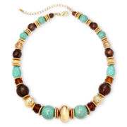 Mixit™ Gold-Tone Aqua and Brown Bead Necklace