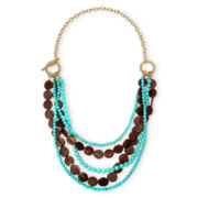 Mixit™ Gold-Tone Aqua and Brown 5-Row Toggle Necklace