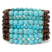 Mixit™ Gold-Tone Aqua and Brown 7-Row Stretch Bracelet