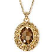 Monet® Gold-Tone Brown Pendant Necklace