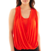 by&by Sleeveless Drape-Front Lace-Inset Top