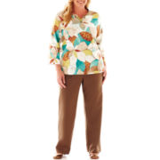 Alfred Dunner® Ipanema Stained Glass Floral Top or Pull-On Pants - Plus