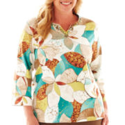 Alfred Dunner® Ipanema 3/4-Sleeve Stained Glass Floral Top - Plus