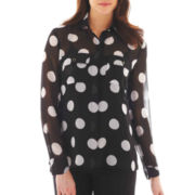 Bisou Bisou® Long-Sleeve Split-Back Blouse
