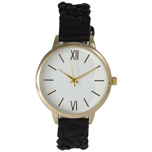 Olivia Pratt Womens Gold-Tone White Dial Black Braided Faux Leather Strap Watch 15141 15141Black