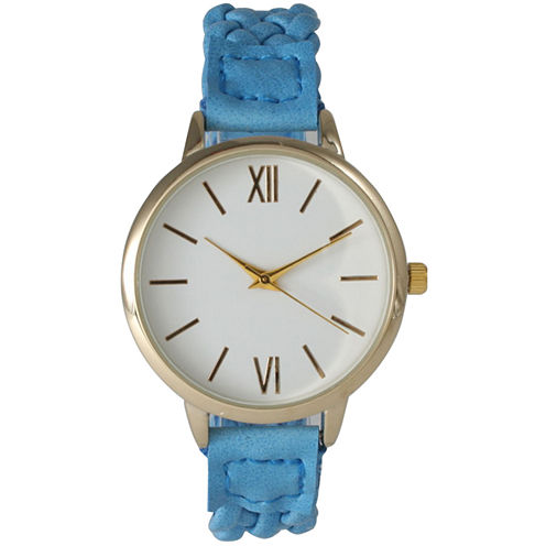 Olivia Pratt Womens Gold-Tone White Dial Blue Braided Faux Leather Strap Watch 15141 15141Blue
