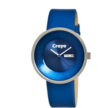 jcpenney.com | Crayo Unisex Button Blue Leather-Band Watch With Day&Date Cracr0202