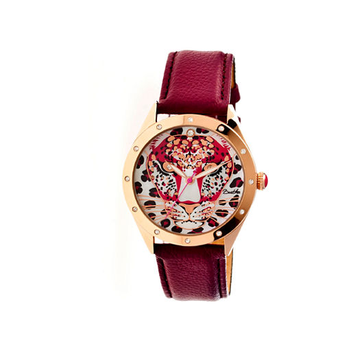 Bertha Womens Alexandra Mother-Of-Pearl Maroon Leather-Band Watchbthbr4708