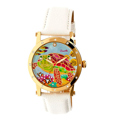 Bertha Womens Chelsea Mother-Of-Pearl White Leather-Band Watchbthbr4903