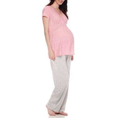jcpenney.com | Sleep Chic Maternity Short-Sleeve Wrap Pajama Set