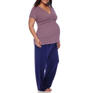 jcpenney.com | Sleep Chic Maternity Short-Sleeve Pajama Set - Plus