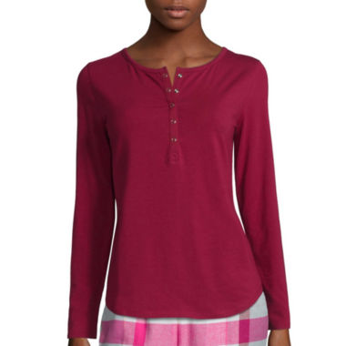 jcpenney.com | Liz Claiborne® Long-Sleeve Henley Pajama Top