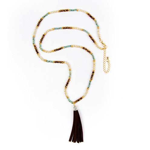 Arizona Beaded Gold-Tone Pleather Necklace