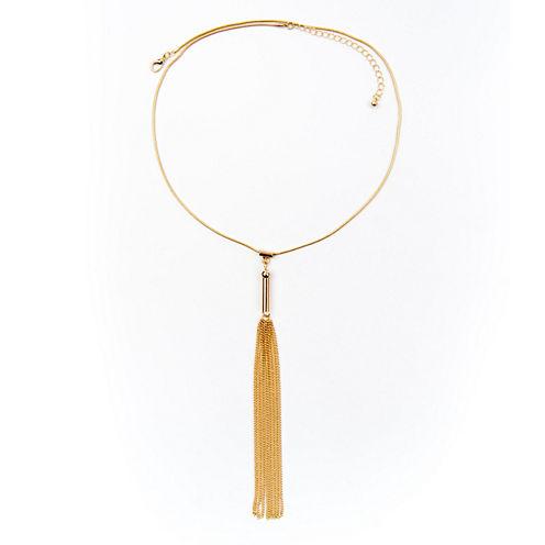Arizona Gold-Tone Snake Chain Tassel Necklace