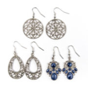 Arizona 3-pr. Silver-Tone Filigree Drop Earrings