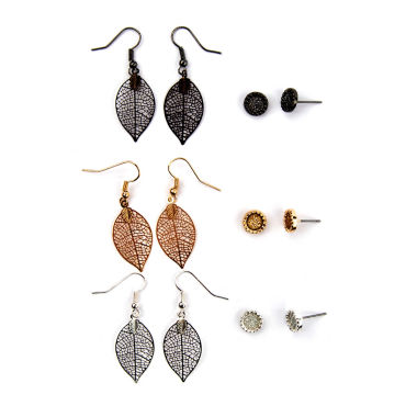 jcpenney.com | Arizona 6-pr. Stud and Leaf Drop Earrings