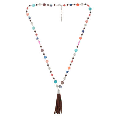 jcpenney.com | Decree® Shell & Beaded Suede Tassel Layered Pendant Necklace