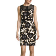 Worthington® Sleeveless Mesh Bodice Sheath Dress