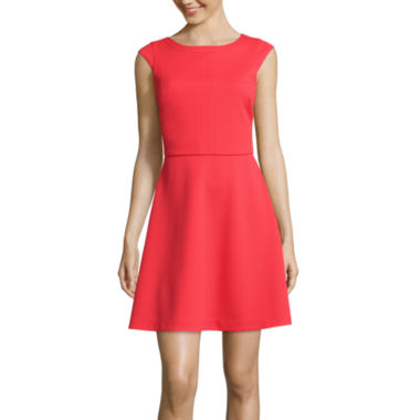 jcpenney.com | Worthington® Cap-Sleeve Seamed Fit-and-Flare Dress