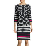 Jessica Howard 3/4-Sleeve Geo Print Shift Dress