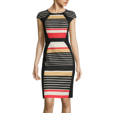 jcpenney.com | RN Studio by Ronni Nicole Cap-Sleeve Striped Sheath Dress