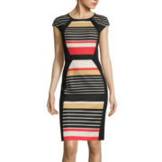 RN Studio by Ronni Nicole Cap-Sleeve Striped Sheath Dress