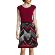 Robbie Bee® Cap-Sleeve Chevron-Skirt Fit-and-Flare Dress