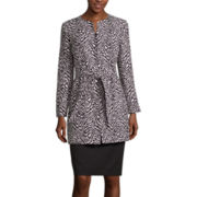 R&K Originals® Long-Sleeve Animal Print Jacket and Skirt Suit