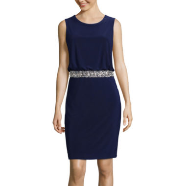 jcpenney.com | Jackie Jon Sleeveless Beaded Waist Blouson Dress