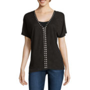 a.n.a® Short-Sleeve Embellished Top - Tall
