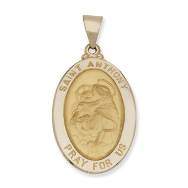 jcpenney.com | 14K Yellow Gold Oval Saint Anthony Medal Charm Pendant