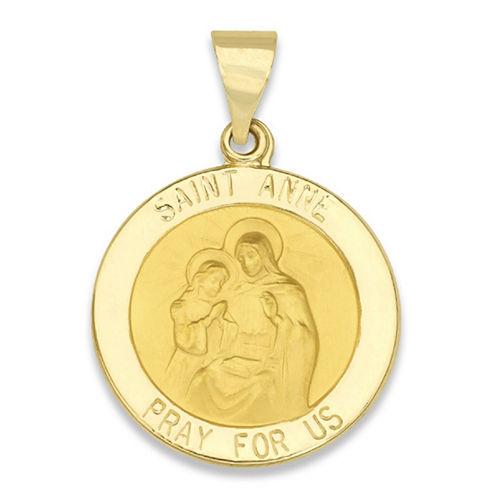 14K Yellow Gold Round Saint Anne Medal Charm Pendant