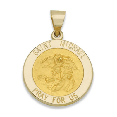 14k yellow gold round saint michael medal charm pendant jcpenney 14k yellow gold round saint michael medal charm pendant mozeypictures Image collections