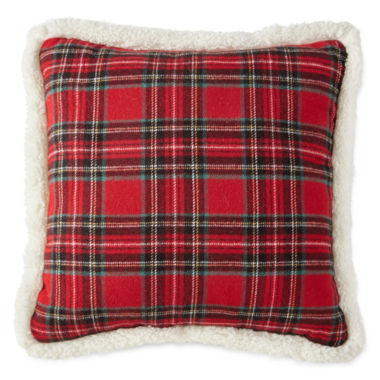 jcpenney.com | North Pole Trading Co. Tartan Plaid Sherpa-Back Pillow