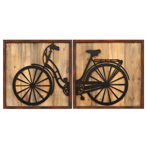 Stratton Home Décor Set of 2 Retro Bicycle Panels