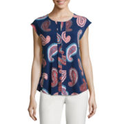 Liz Claiborne® Sleeveless Pleated-Front Printed Knit Top