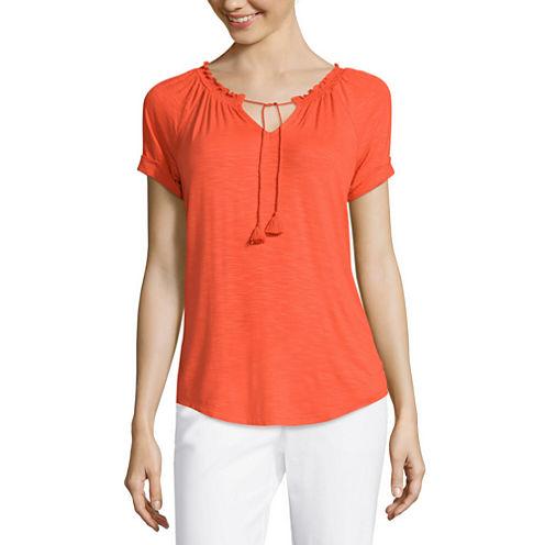Liz Claiborne® Short-Sleeve Smocked-Neck Peasant Tee