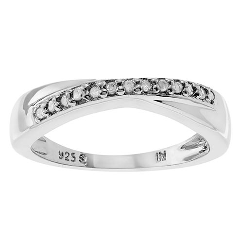 Womens 1/8 CT. T.W. Genuine White Diamond Sterling Silver Band