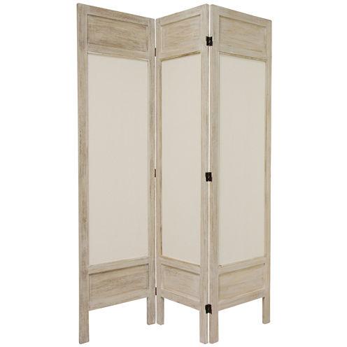 Oriental Furniture 5.5' Frame Fabric 3 Panel RoomDivider