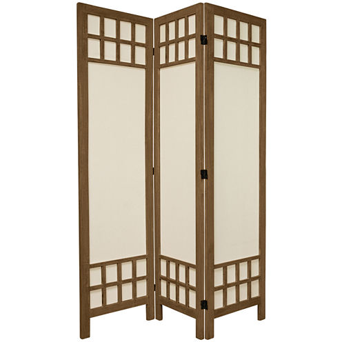 Oriental Furniture 5.5' Window Pane 3 Panel Room Divider