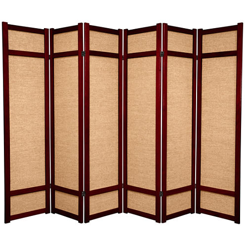 Oriental Furniture 6' Jute Shoji 6 Panel Room Divider