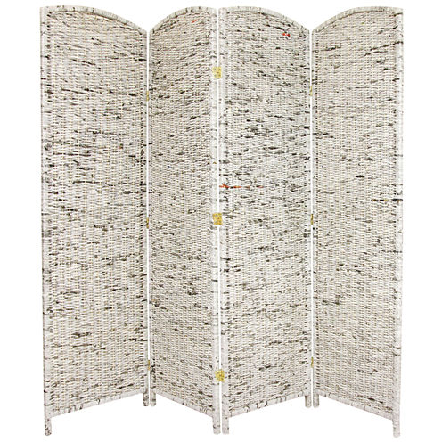 Oriental Furniture 6' Recycled Newspaper 4 Panel Room Divider