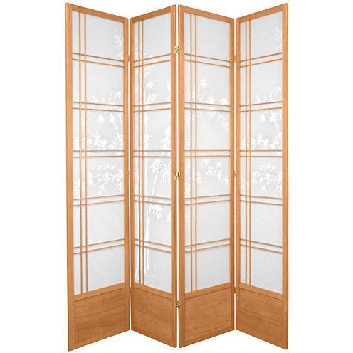 Oriental Furniture 7' Bamboo Tree Shoji 4 Panel Room Divider