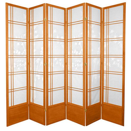 Oriental Furniture 7' Bamboo Tree Shoji 6 Panel Room Divider