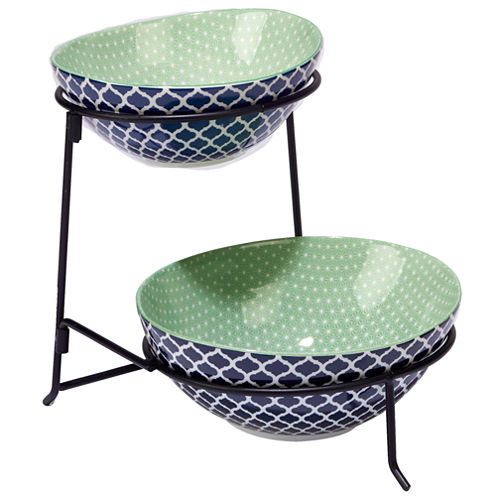 Certified International Indigo Quatrefoil Tiered Server