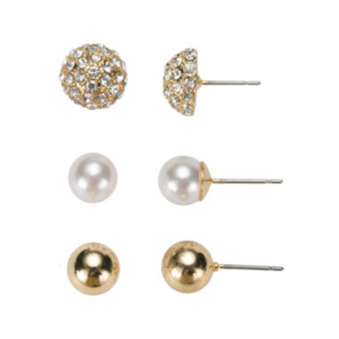 jcpenney.com | Gloria Vanderbilt® 3-pr. Ball Stud Earrings
