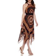 Studio 1® Sleeveless Medallion Print Hanky-Hem Maxi Dress