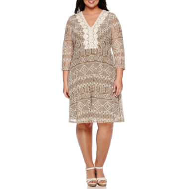 jcpenney.com | Luxology Elbow-Sleeve Lace Fit-and-Flare Dress - Plus