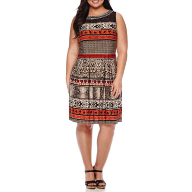 jcpenney.com | Studio 1® Sleeveless Mesh Jewel-Neck Tribal Fit-and-Flare Dress -Plus